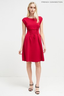 French Connection Crimson Crepe Knits Lace Up Dress