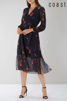 Coast Black Nyla Printed Wrap Dress
