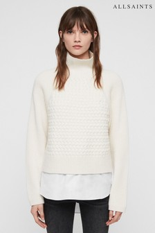 All Saints Cream Jones Cable Mock Shirt Jumper