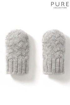 Pure Collection Grey Cashmere Baby Cable Mitt