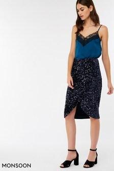 Monsoon Blue Selah Sequin Skirt
