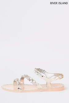 River Island Gold Jelly Sandal
