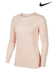 Nike Pink Mesh Long Sleeved Training Top