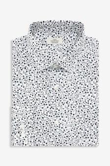 Floral Print Regular Fit Single Cuff Cotton Stretch Shirt