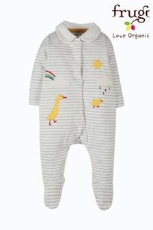 Frugi Organic Cotton Appliqué Ducks Velour Sleepsuit