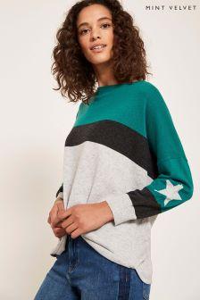 Mint Velvet Green Block Stripe Star Sleeve Knit