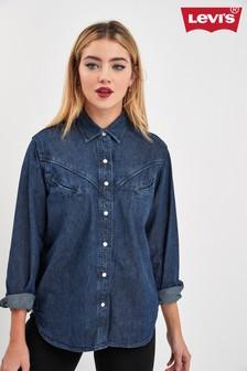 Levis Denim Mid Wash Western Denim Shirt