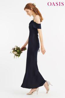 Oasis Navy Amy Slinky Cowl Neck Maxi Dress
