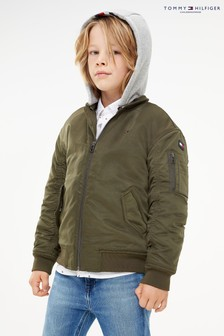 Tommy Hilfiger Green Tial Hooded Bomber Jacket