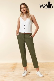 Wallis Green Petite Belted Cigarette Trouser