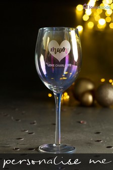 Personalised Iridescent Wine Glass by Loveabode