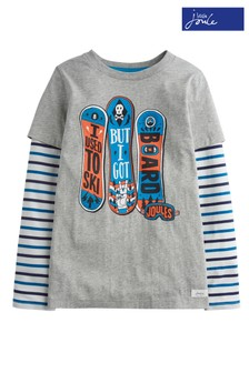 Joules Grey Marl Board Mock Layer Top