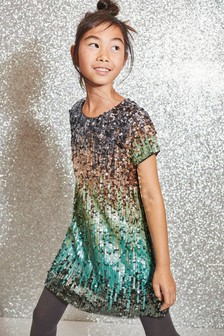 Ombre Sequin Shift Dress (3-16yrs)