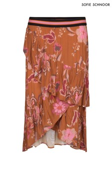 Sofie Schnoor Burnt Orange Floral Wrap Skirt