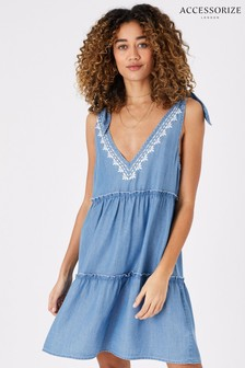 Accessorize Blue Tie Strap Embroidered Chambray Dress