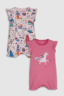 Space/Unicorn Print Rompers Two Pack (0mths-2yrs)
