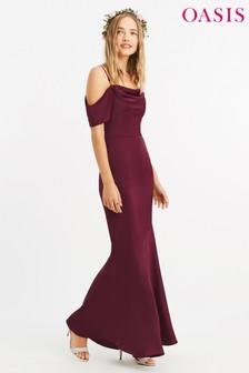 Oasis Burgundy Amy Slinky Cowl Neck Maxi Dress