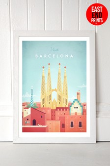 Visit Barcelona by Henry Rivers Framed Print