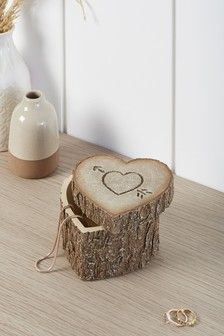 Wood Effect Heart Trinket Box
