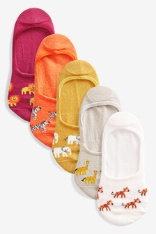 Jungle Animal Invisible Socks Five Pack