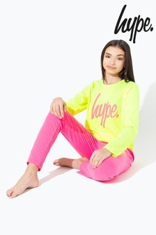 Hype. Yellow With Pink Script Kids Pyjama Set