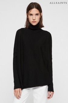 All Saints Black Koko Wrap Jumper