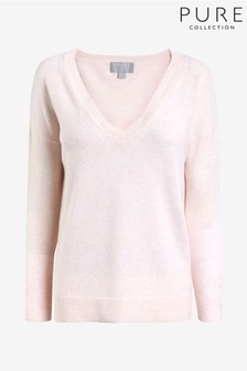 Pure Collection Pink Cashmere Relaxed V-Neck Sweater