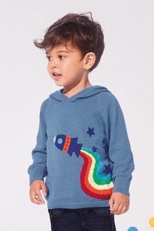 Sudadera con capucha, arcoíris y cohete (3 meses-7 años)