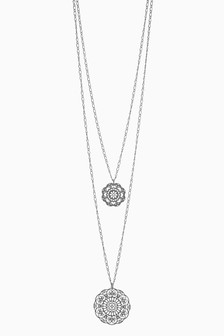 Filigree Effect Disc Two Layer Necklace