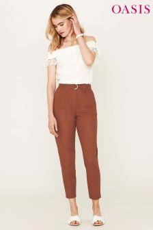 Oasis Brown Linen Peg Leg Trouser