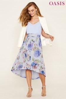 Oasis Grey Hydrangea Dip Hem Midi Skirt