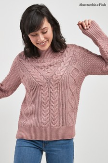 Abercrombie & Fitch Zopfstrickpullover, rosa