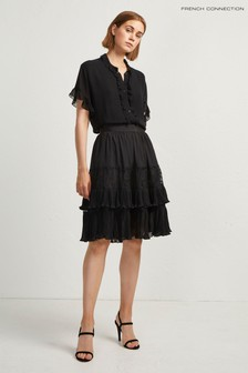 French Connection Black Lace Mix Skirt
