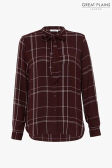 Great Plains Cabernet Red Agnes Check Bow Shirt