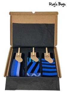 Roys Boys Blue Mixed Design Socks Three Pack