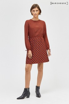 Warehouse Mixed Spot Print Mini Dress