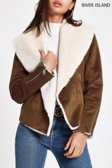River Island Tan Faux Fur Jacket