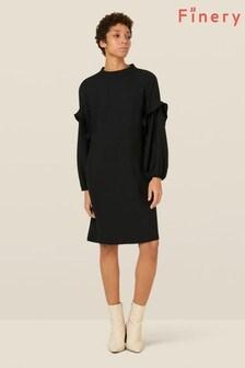 Finery London Black Jaelynn Frill Detail Dress