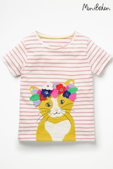 Boden Pink Flower Crown Appliqué T-Shirt