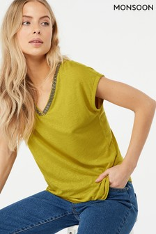 Monsoon Ladies Green Tina Embellished Linen Top
