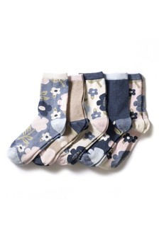 70's Floral Pattern Ankle Socks Five Pack