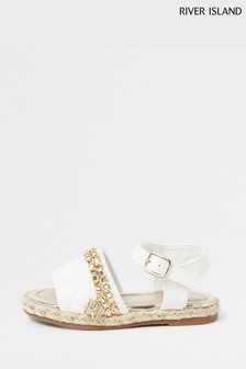 River Island White Quilted Chain Sandals