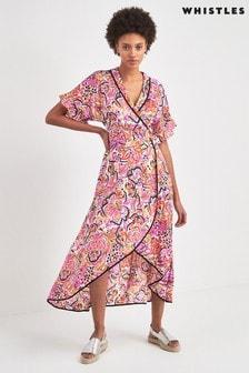 Whistles Pink Art Floral Wrap Dress
