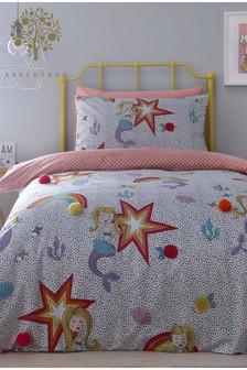 Appletree Mermaid Pom Pom Trim Cotton Duvet Cover and Pillowcase Set