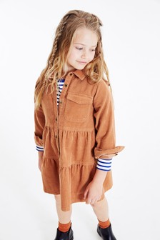 Tiered Cord Shirt Dress (3-16yrs)