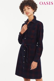Oasis Multi Check Cord Western Dress