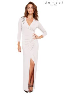 Damsel In A Dress Silver Samia 3/4 Sleeve Maxi Dress