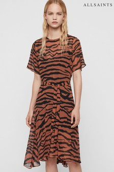 AllSaints Tiger Print Enki Midi Dress