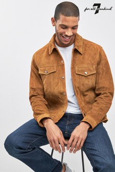 7 For All Mankind Camel Suede Trucker Jacket