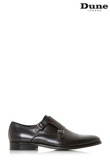 Dune Mens Black Toecap Double Monk Shoe